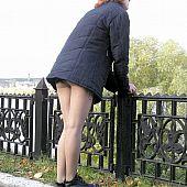 Rear view upskirts chick.