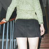 Walking stairs short petticoat.
