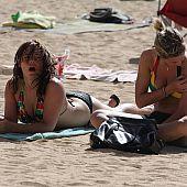 Cutie removing micro bikini.