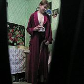 Spying on unaware angel drinking and flashing by her goodies in the wild-open robe.