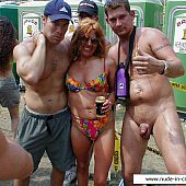 Drunk ladies goes wild at public undressed party.