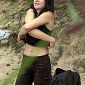 Wild beach brunette.