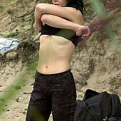 Beach brunette.