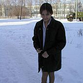 Hawt legal age teenager flashing on the snow.