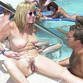 Family nudists party pool.